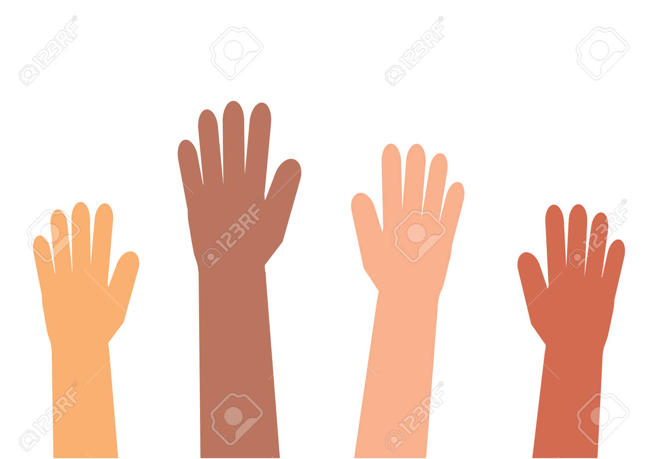 Hands of different people on a white background. Vector illustration. - 124347573