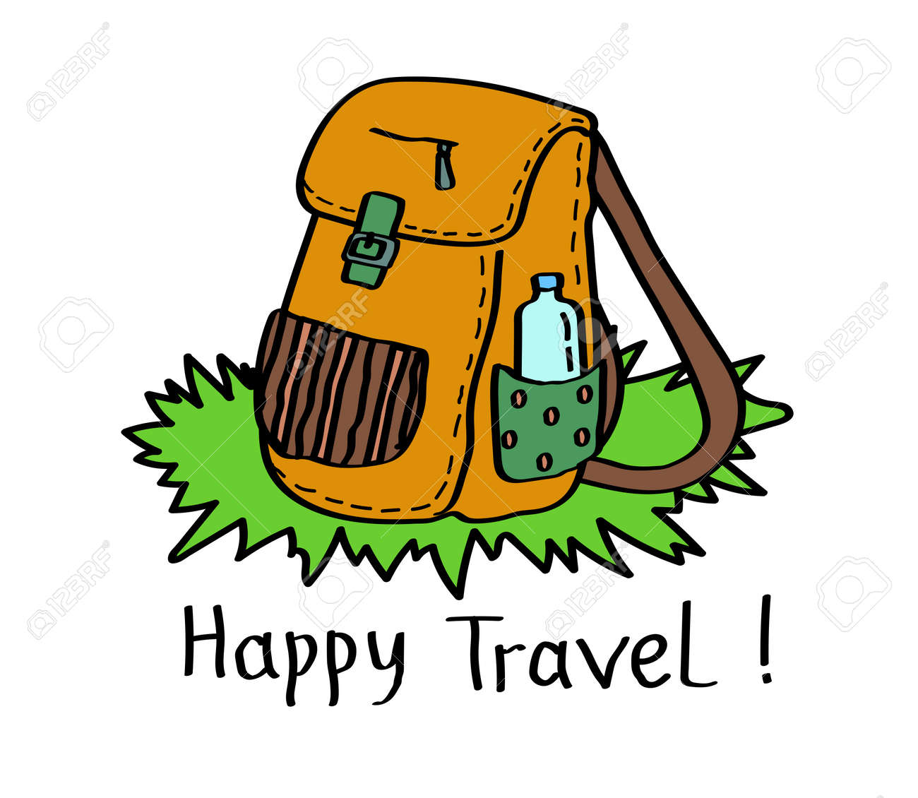 Camping backpack on a white background. Vector illustration. - 130030812