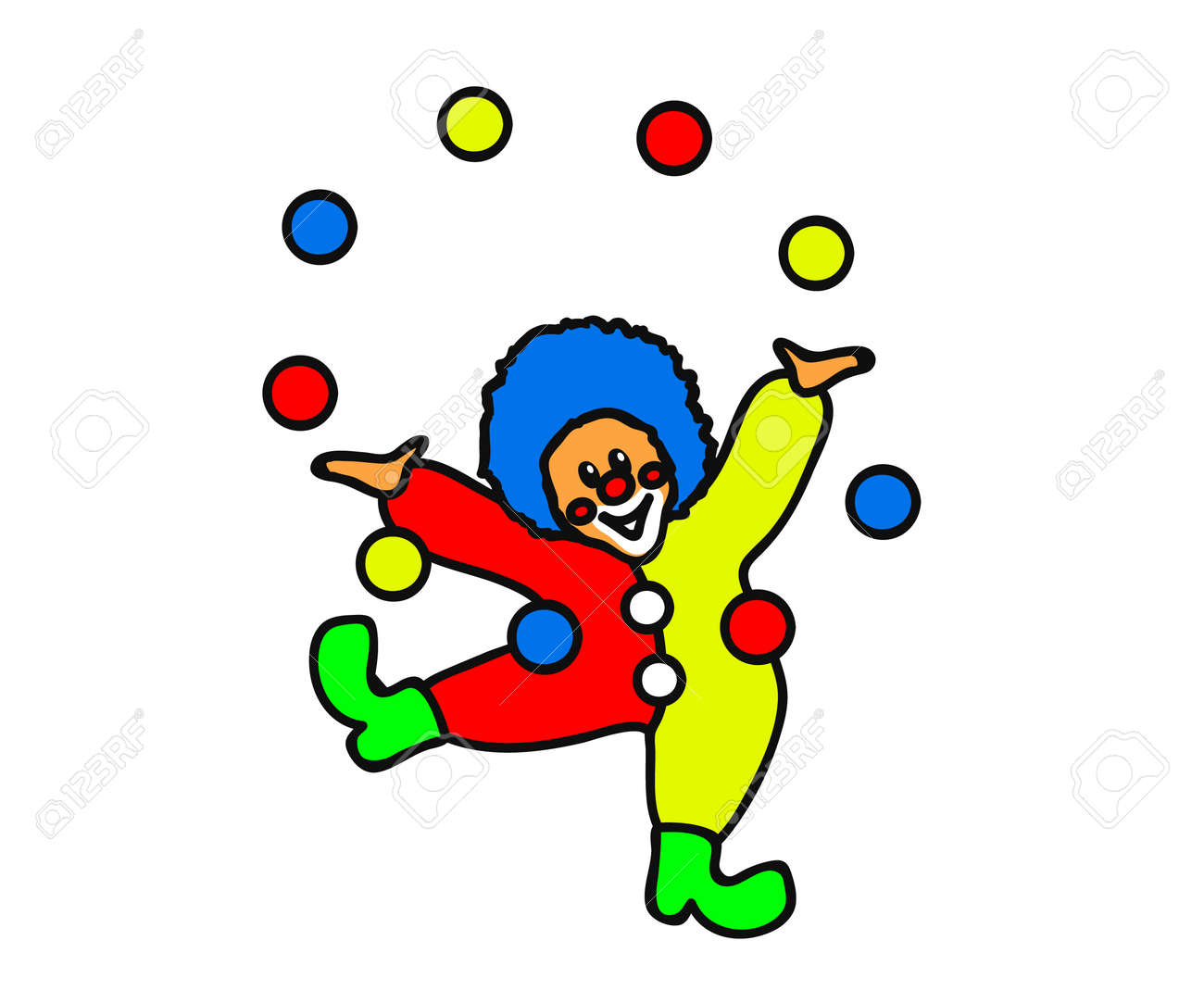Cheerful clown plays with colorful balls on a white background. Cartoon. Vector illustration. - 165957212