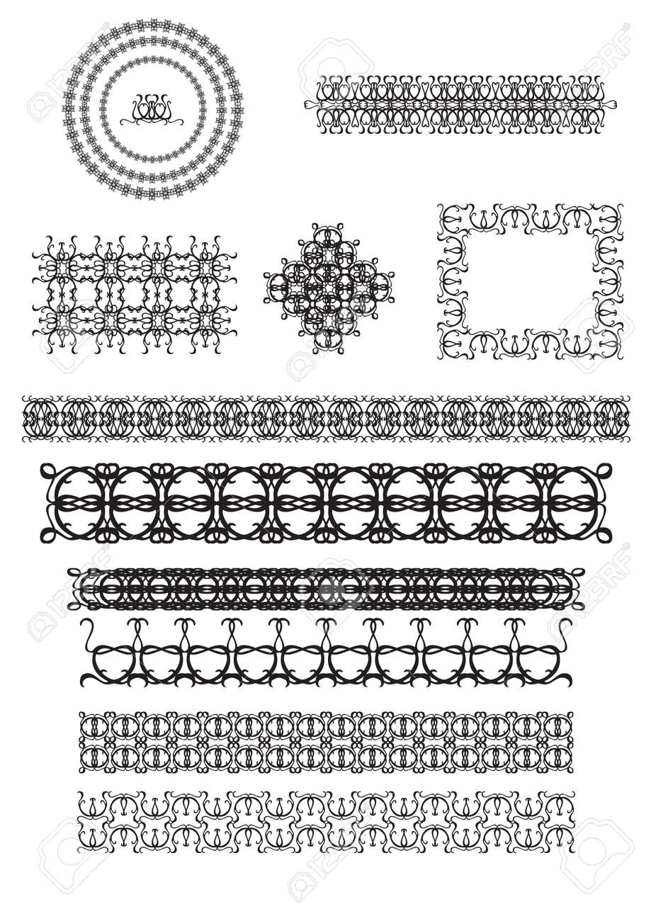 Vector set of line art frames vignettes for design template vector set of line art frames vignettes for design template element in eastern style yadclub Image collections