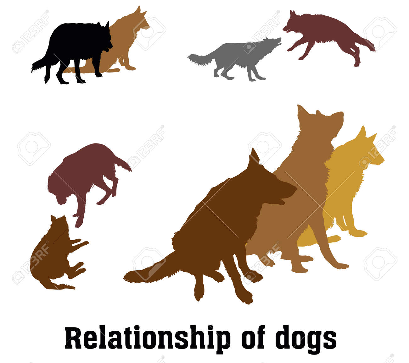 Set Vector Silhouettes Group Of Dogs German Shepherd Dog Black