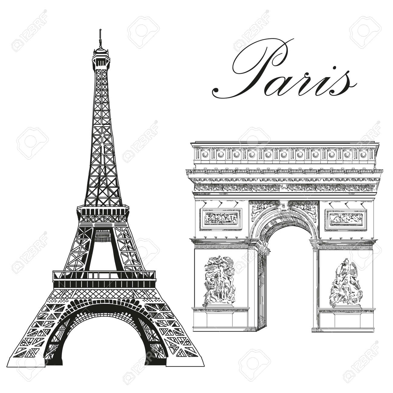 Eiffel Tower And Triumphal Arch Landmarks Of Paris France Royalty Free Cliparts Vectors And Stock Illustration Image 78274602