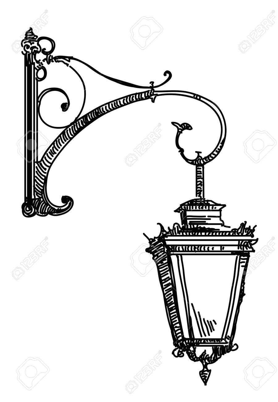 Hand Drawing Isolated Illustration Of Old Street Lamp. Royalty ... for Street Light Drawing  565ane