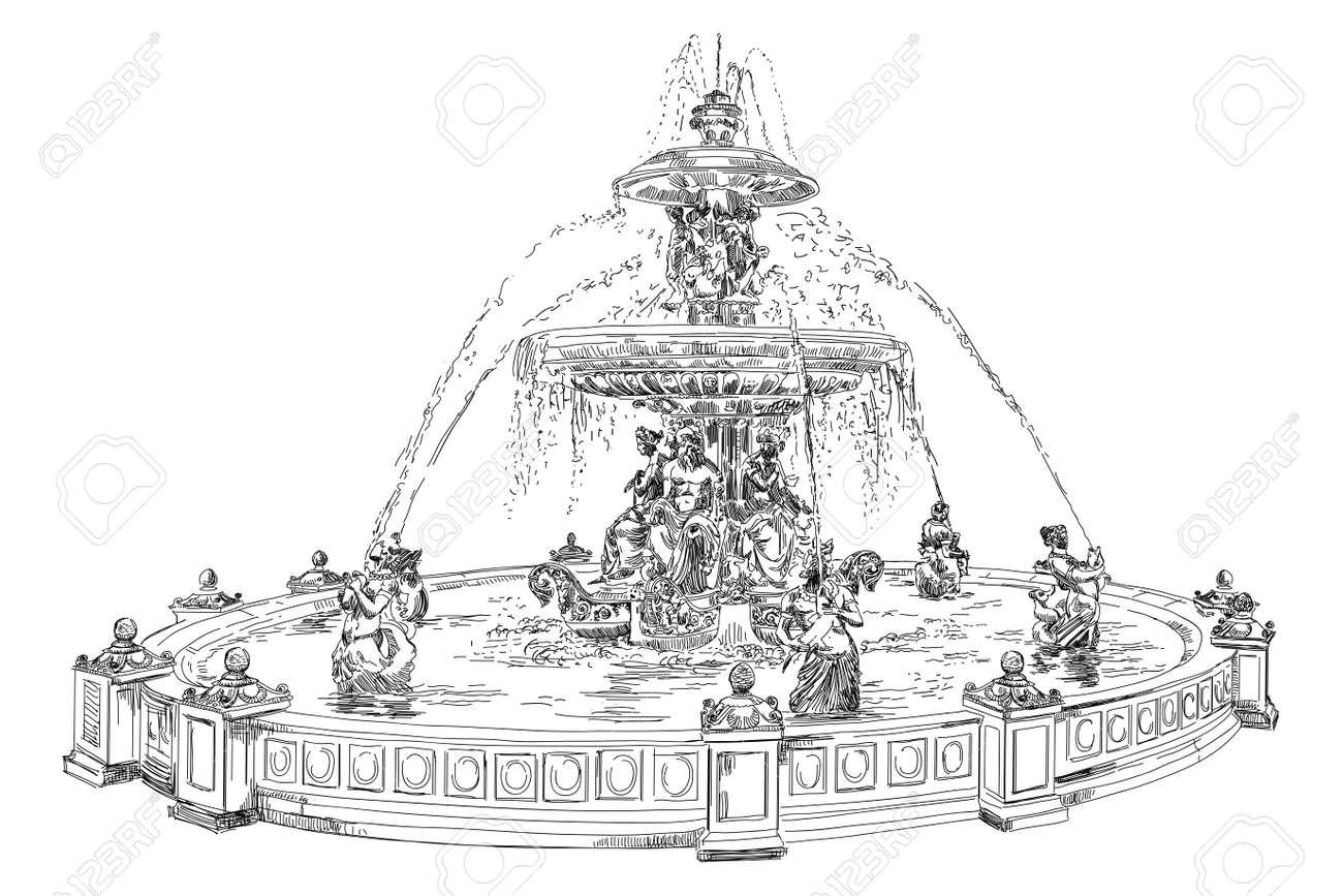 fountain at place de la concord landmark of paris vector hand