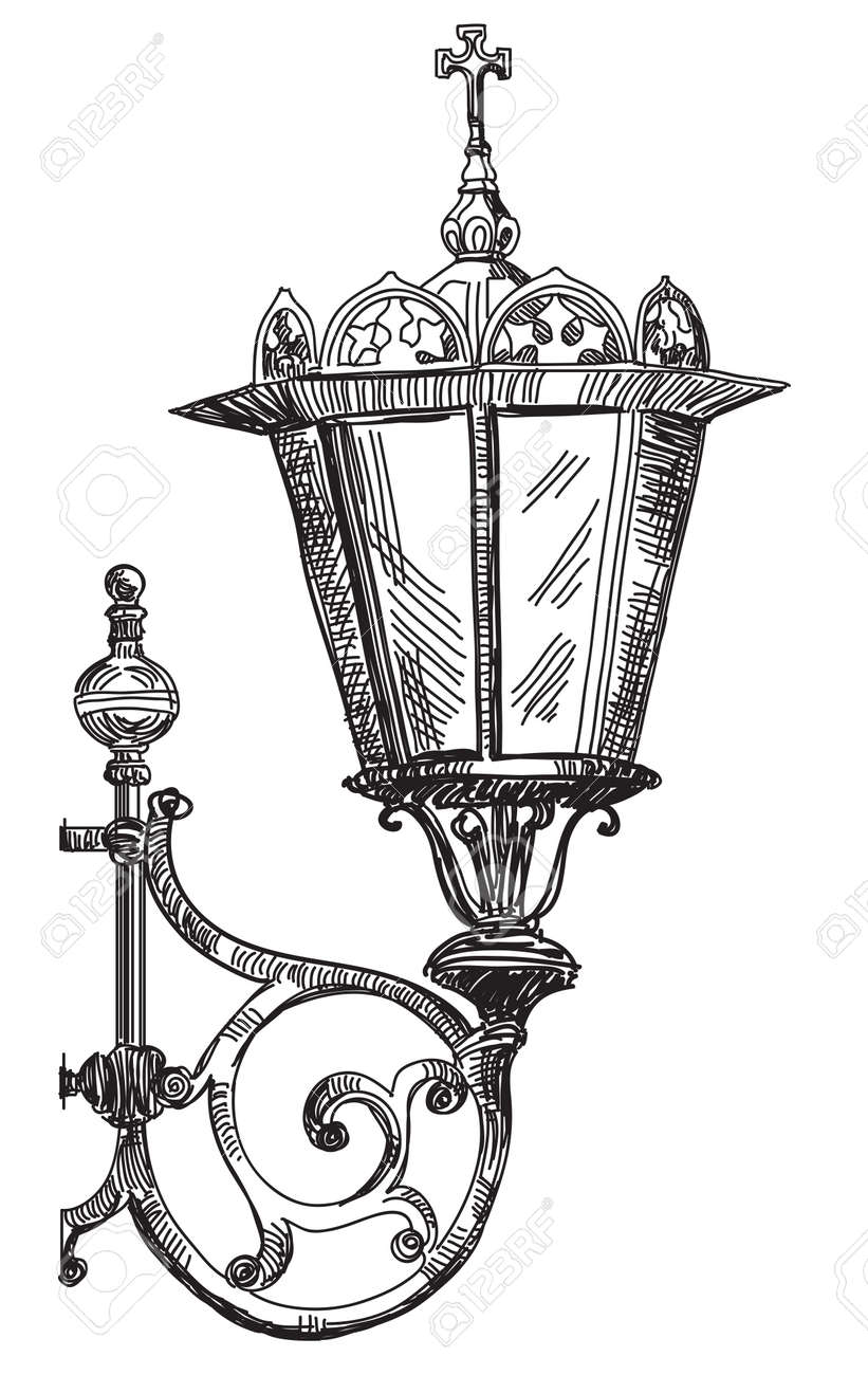 Hand Drawing Isolated Illustration Of Old Street Lamp. Royalty ... for Street Lamp Drawing  570bof