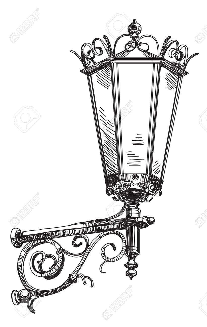 Vector Hand Drawing Isolated Old Street Lantern Monochrome