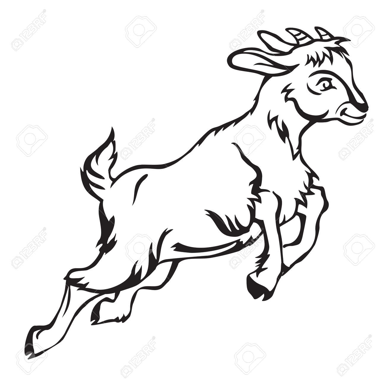 goat kid clipart black and white all about clipart Metal Goat decorative jumping funny cartoon goat kid monochrome vector