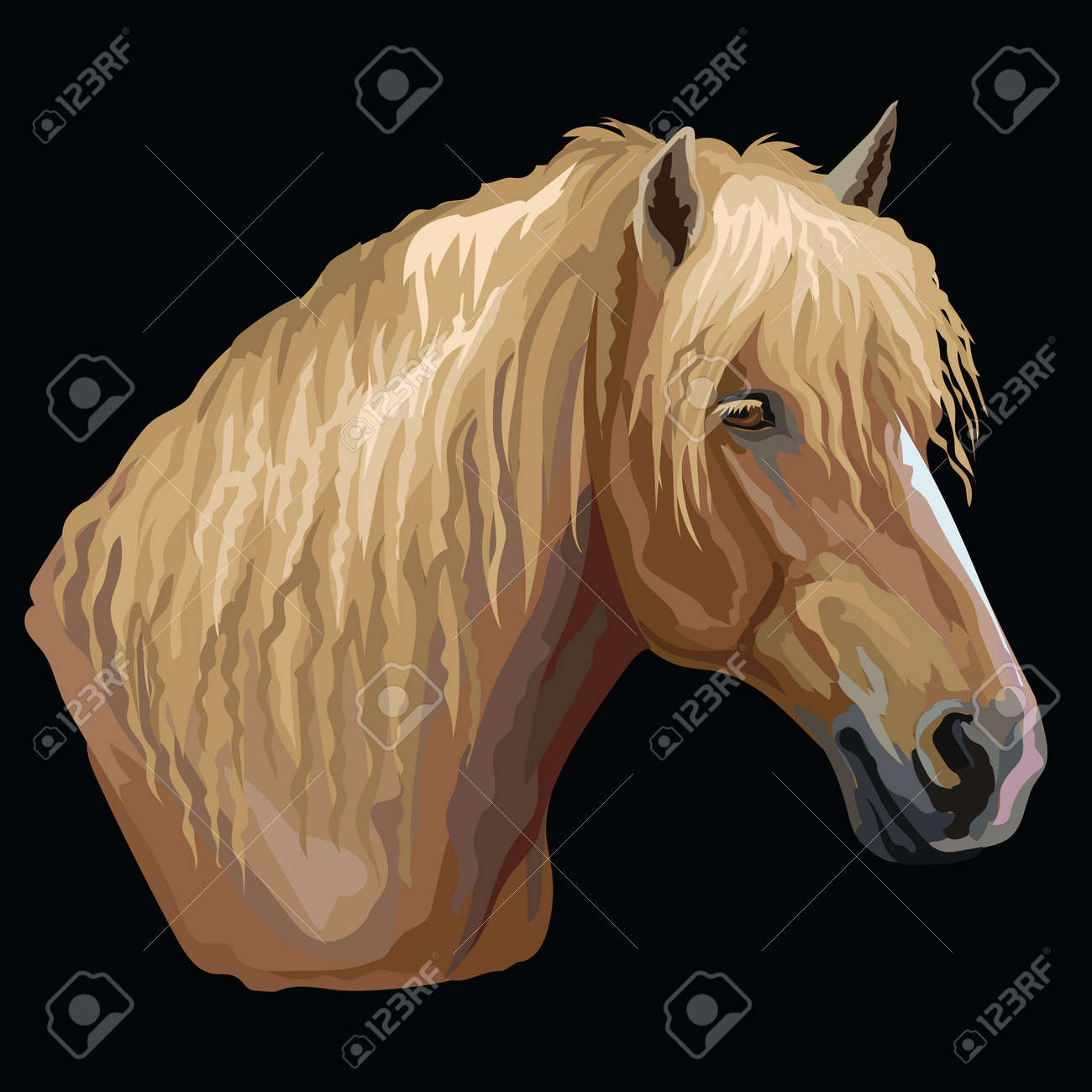 Colorful Portrait Of Russian Heavy Draft Horse Horse Head In Royalty Free Cliparts Vectors And Stock Illustration Image 119455145