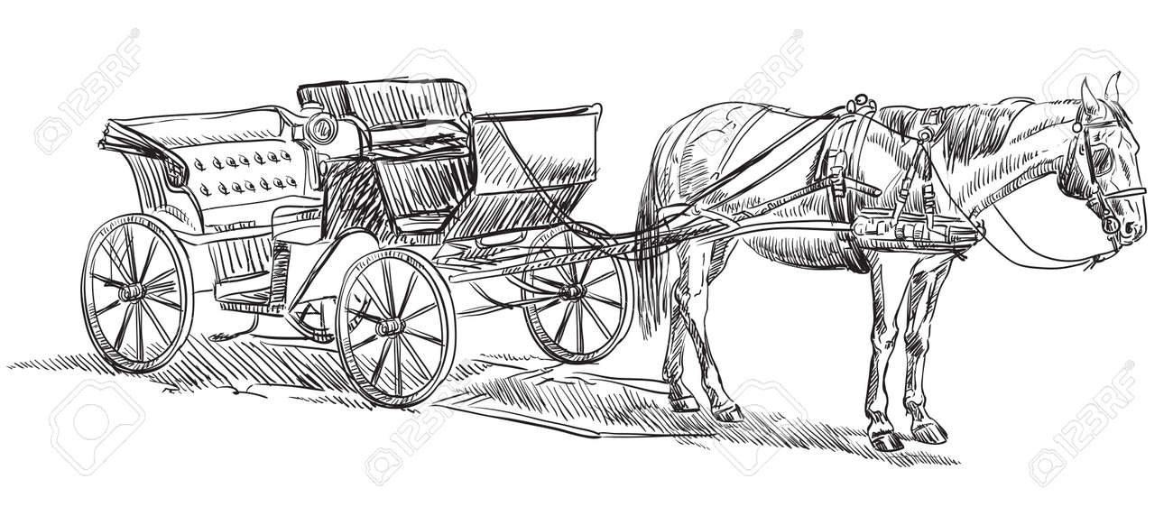 Vector Hand Drawing Illustration Horse Drawn Carriage Standing Royalty Free Cliparts Vectors And Stock Illustration Image 126144192