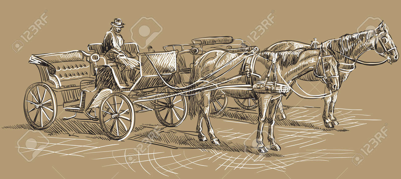 Vector Hand Drawing Illustration Horse Drawn Carriages With Coachman Royalty Free Cliparts Vectors And Stock Illustration Image 125294229