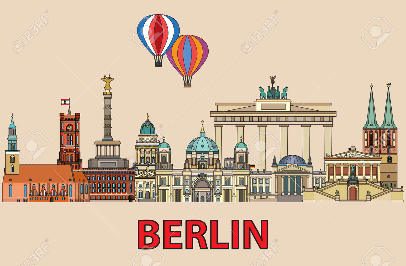 Colorful vector skyline of Berlin, Germany in line art style. Flat vector colorful illustration of main landmarks of Berlin front view isolated on beige background. Vector icon, building outline travel concept. - 146968158