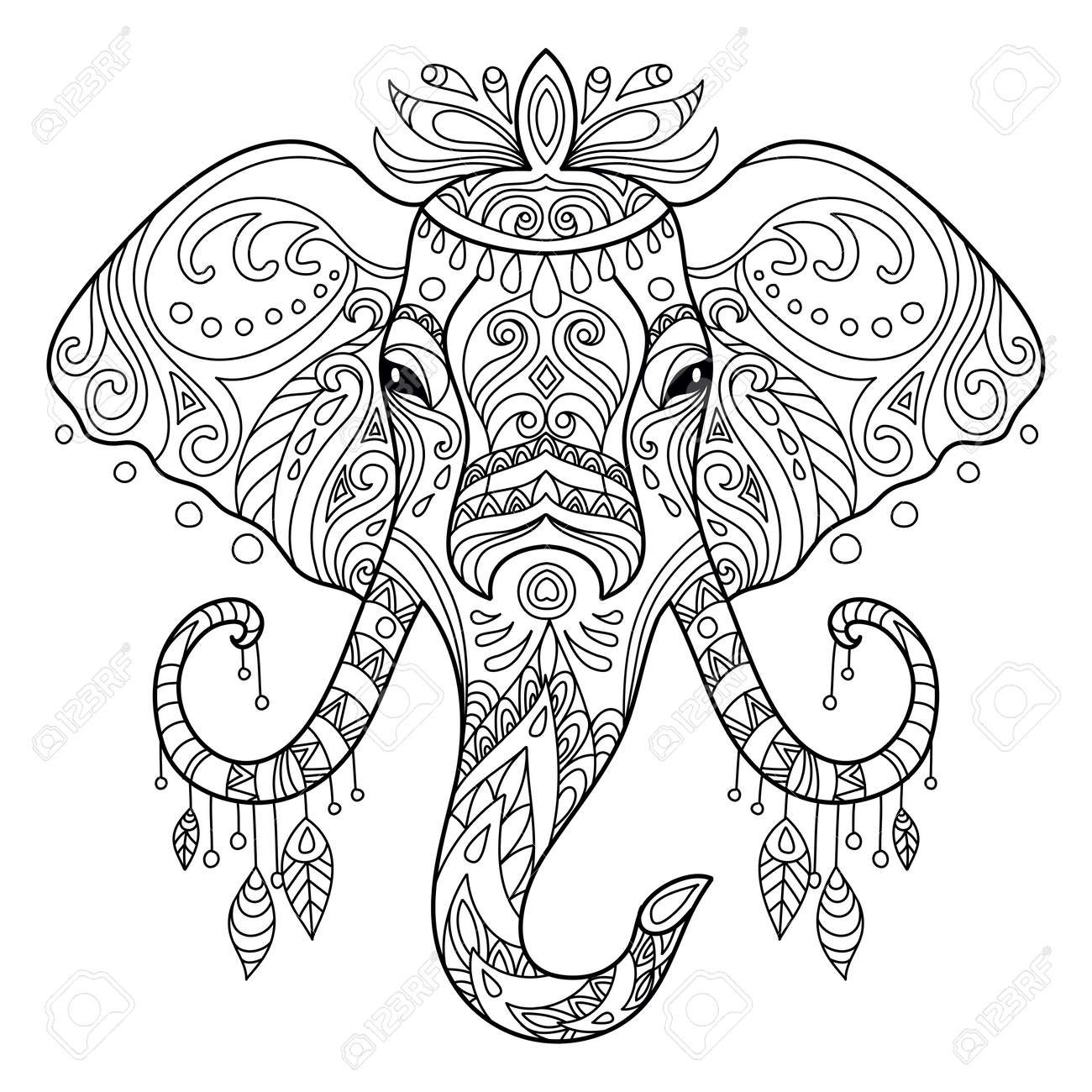 Tangle african elephant coloring book page for adult - 167906013