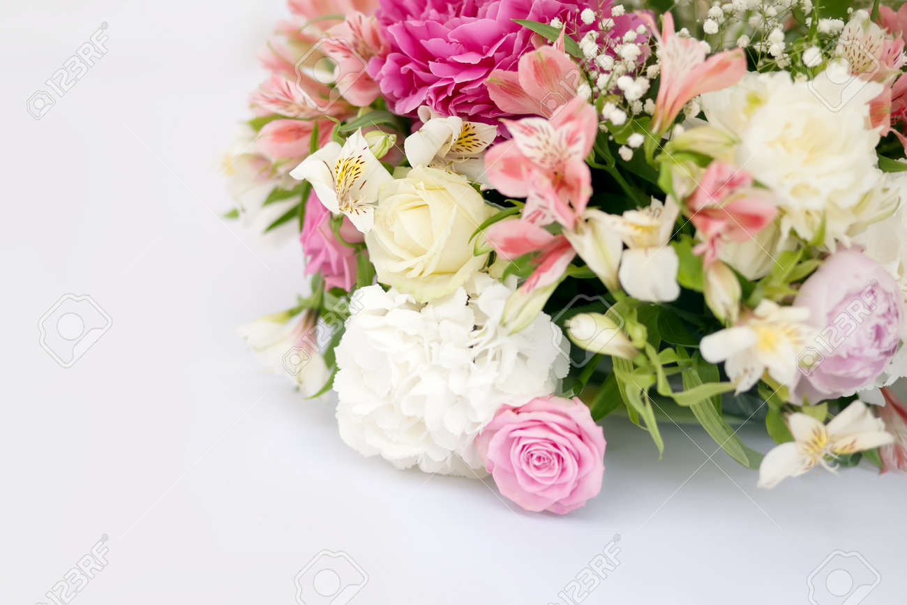 Flower Arrangement With Pink And White Roses And Peonies Wedding