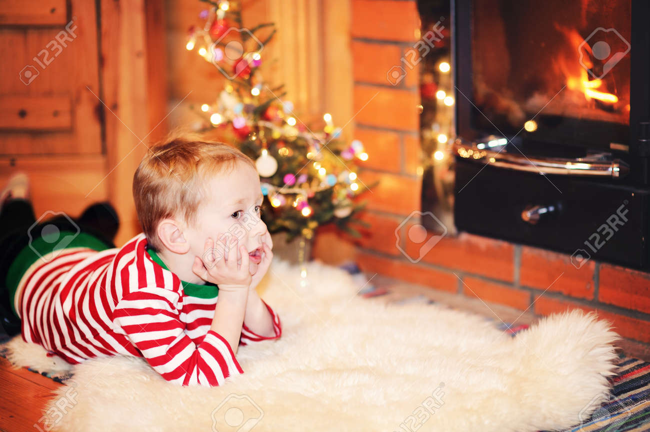 Portrait of short-haired toddler boy in Christmas decorations Stock Photo - 16494785