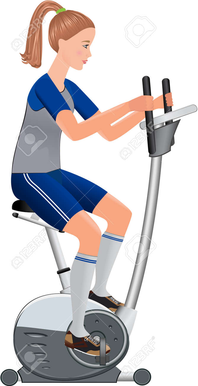 beautiful vector girl working out with stationary bicycle Stock Vector - 12810680