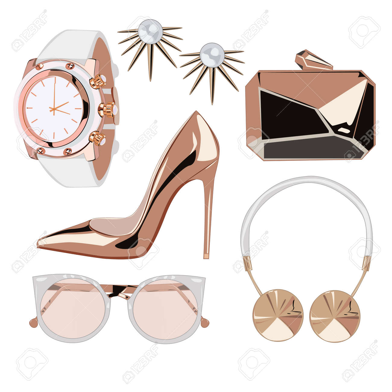 Golden rose fashion accessories illustration