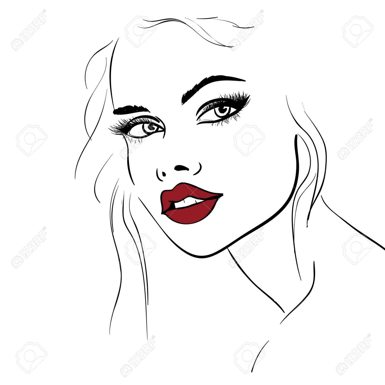ファッション顔スケッチ化粧イラストのイラスト素材ベクタ Image