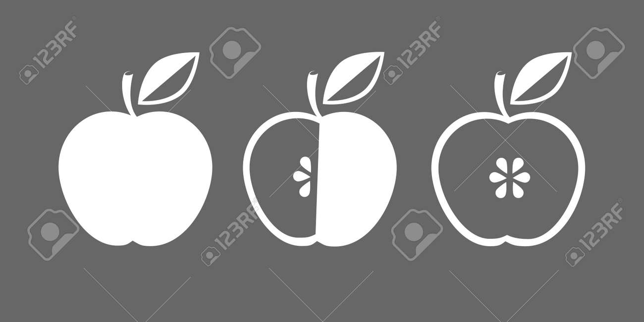 Vector Icon Of Apple Whole And In Cross Section Symbol Monochrome