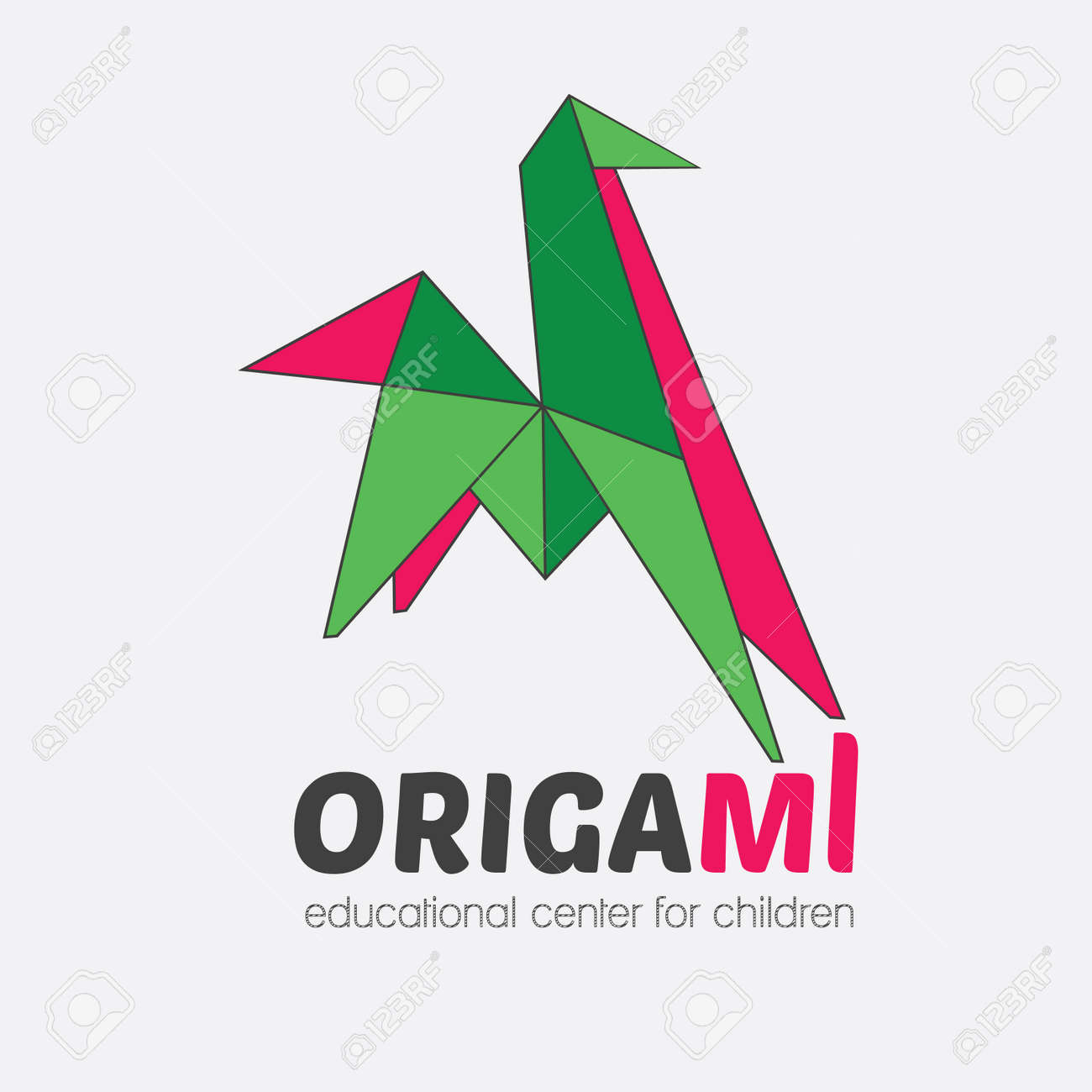 Vector Logo Origami Horse For An Educational Center Children