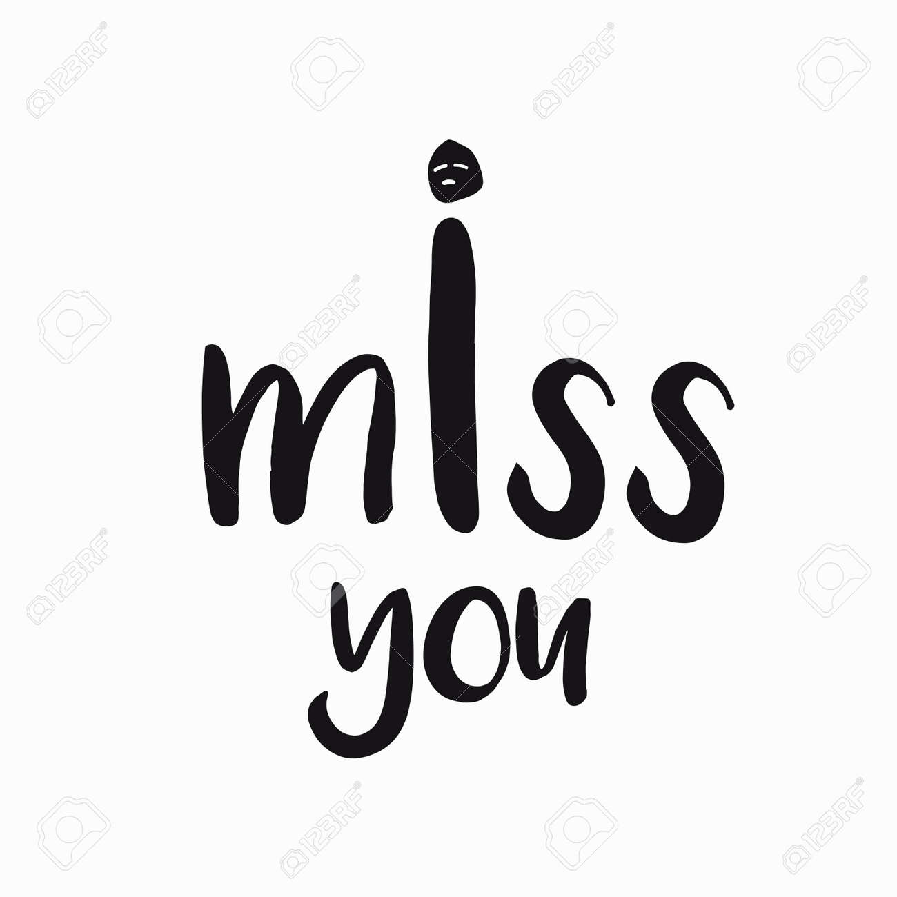 Vector Card Banner Lettering Letters I Miss You Sad Face