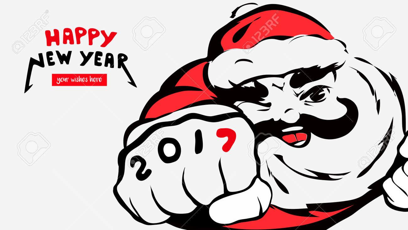 Dessin Animé Père Noël Carte De Voeux Bonne Année 2017 Lieu Pour Vos Voeux Père Noël Sourires Merry X Mas Concept Bannière Calendrier Carte