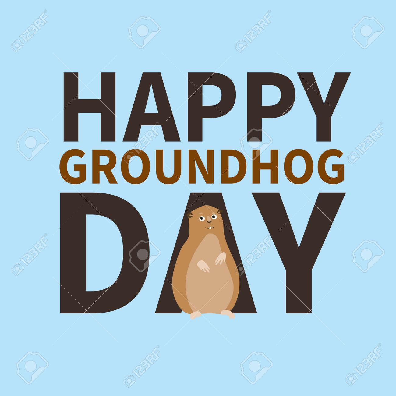 Happy Groundhog Daylogo Icon Cute Happy Marmot Perfect For