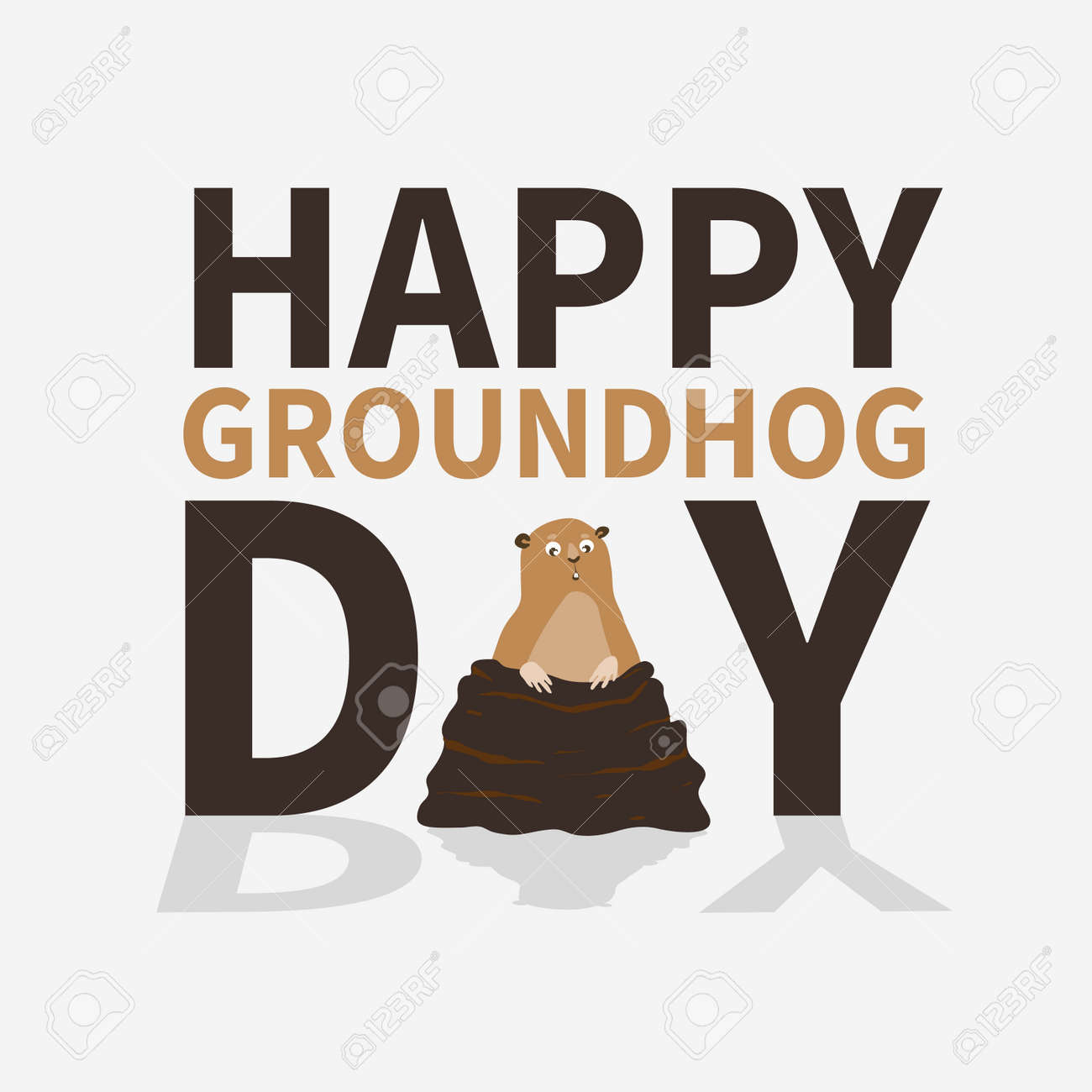Happy groundhog daylogoiconcute frightened marmot emerged stock happy groundhog daylogoiconcute frightened marmot emerged from burrows perfect m4hsunfo