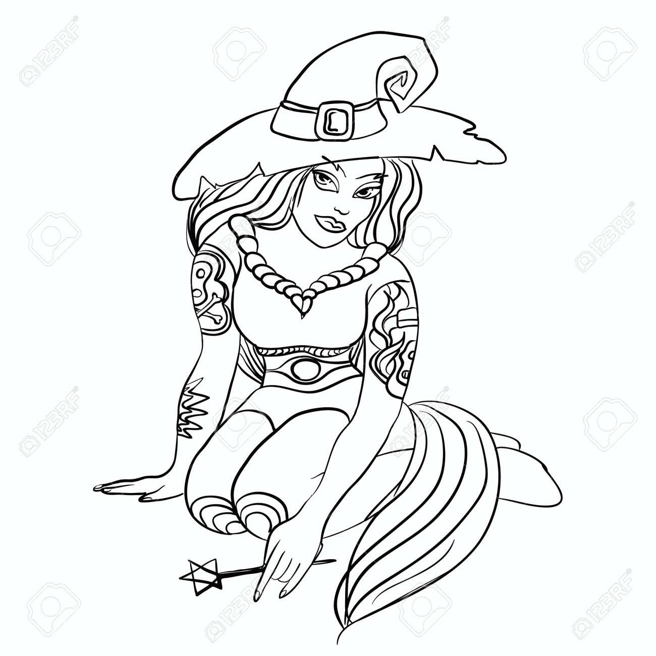 Bruja Silueta Línea Fina Con Tatuajes.Halloween Chica En Sombrero ...