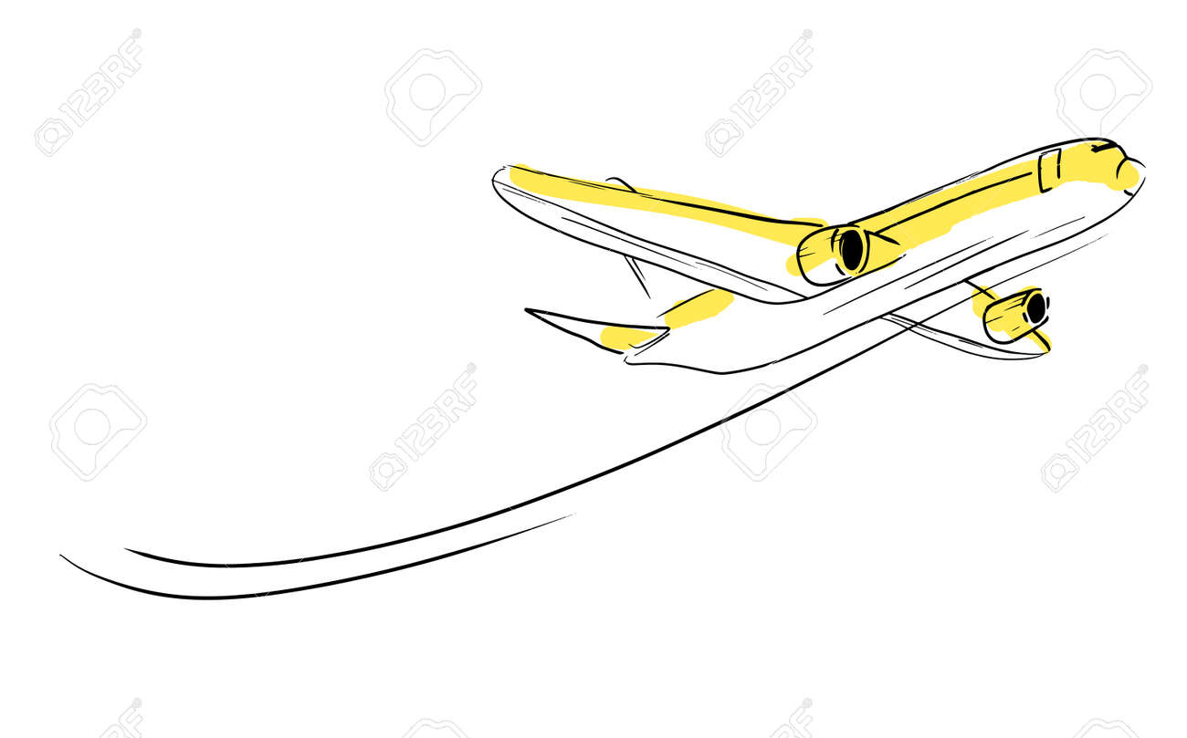 Airplane sketch in sky  Aircraft in minimalistic style with colored