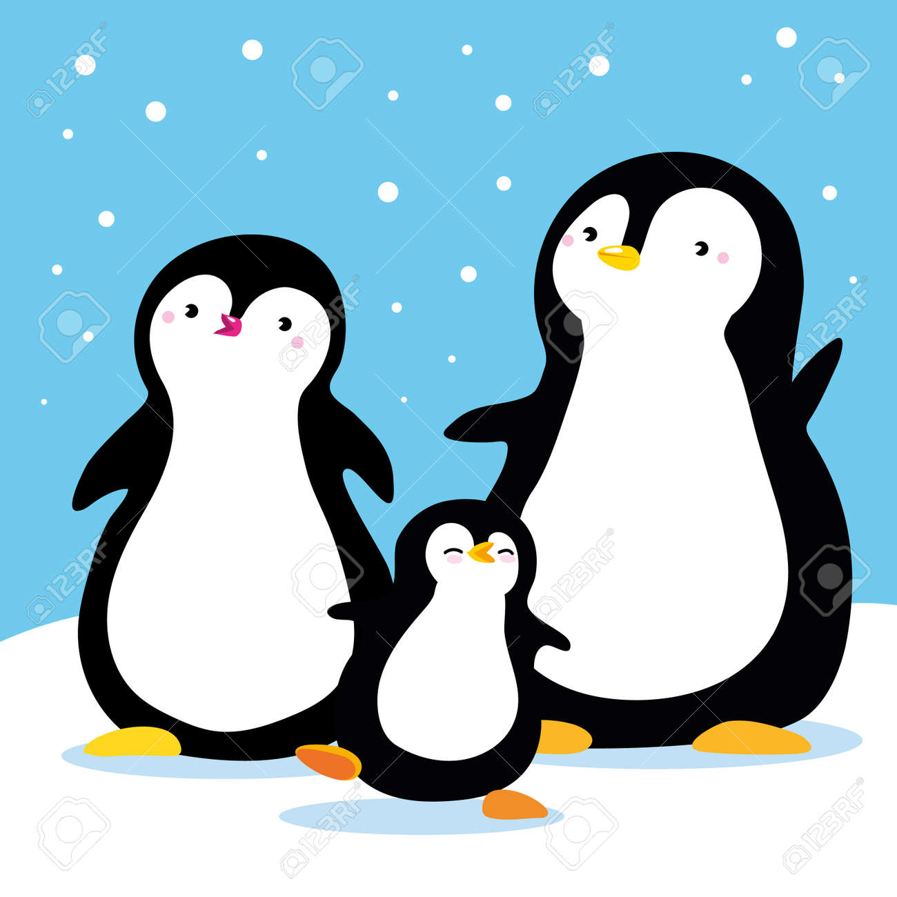 Family of penguins under snow cartoon family characters vector isolated hand draw use