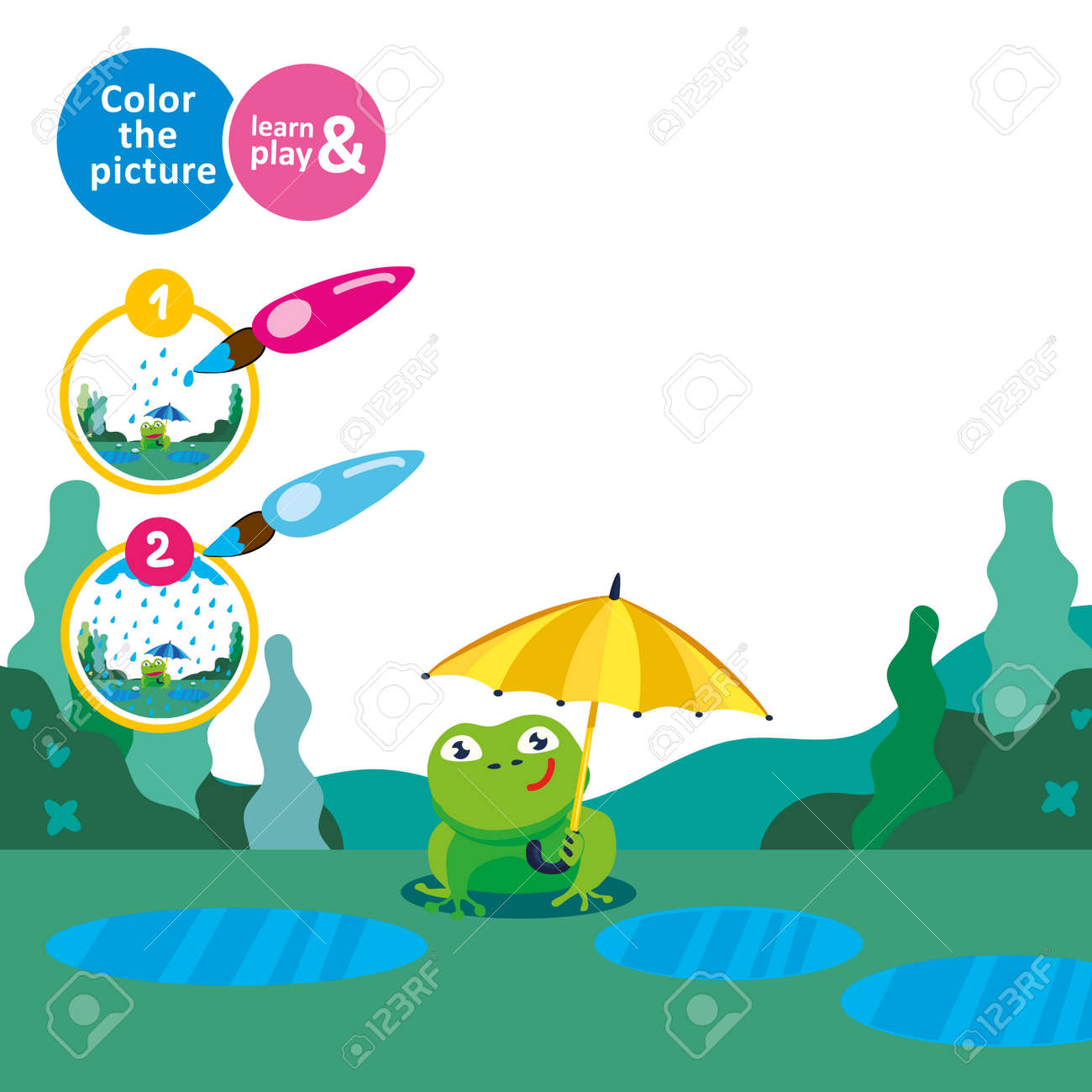 Frog With An Umbrella In The Rain Draw Rain Game For Small
