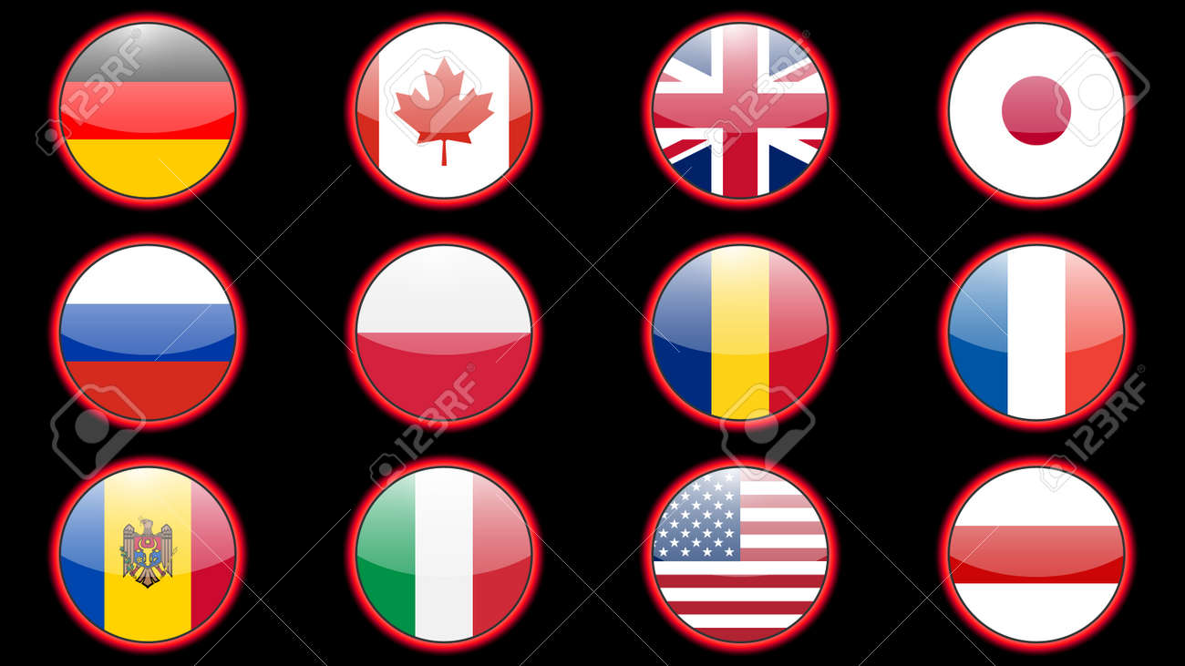 Set of flags of different countries made in icon design - 169438673