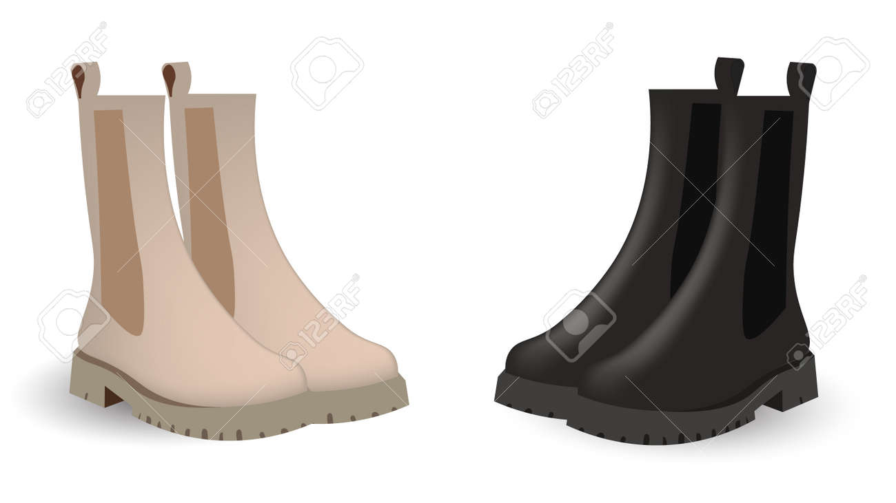 Chelsea boots of two colors: beige and black. Light color chelsea, black chelsea. Caplsule wardrobe 2021 vector design. - 169438973