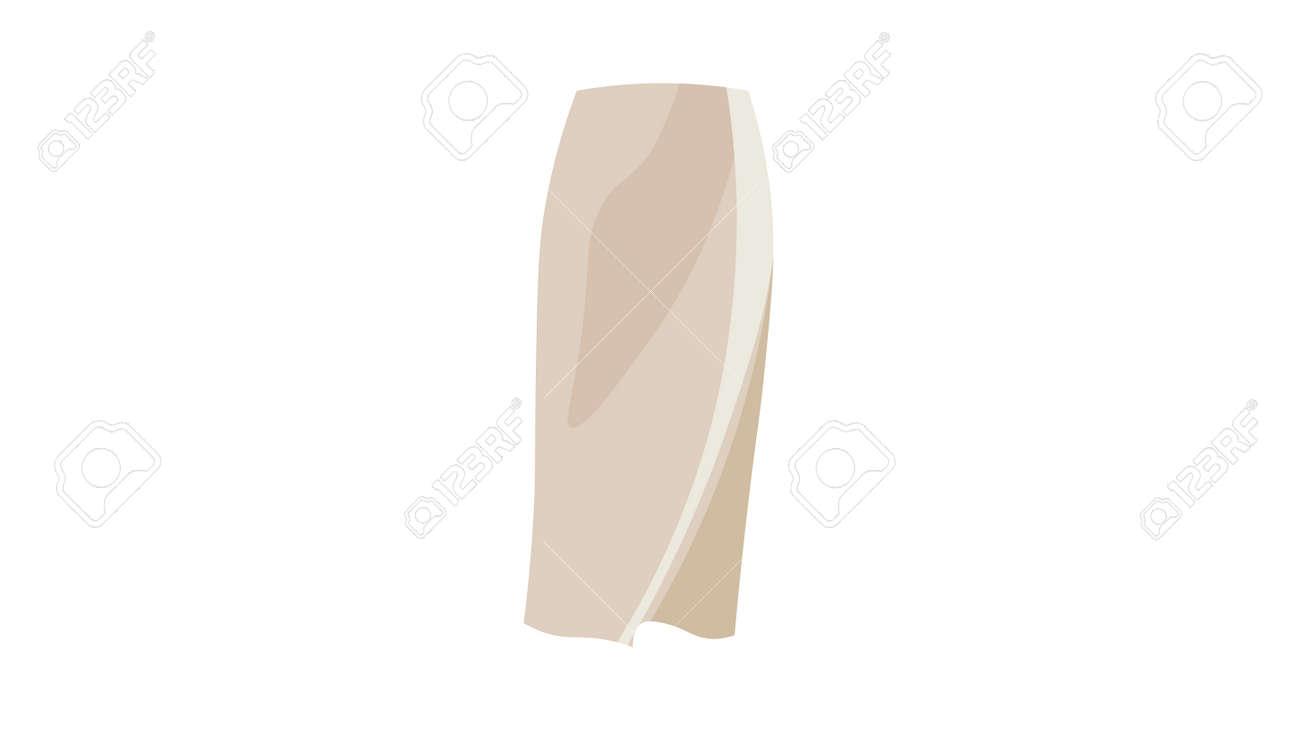 Beige silk skirt vector. Caplsule wardrobe 2021 vector design. - 169438976