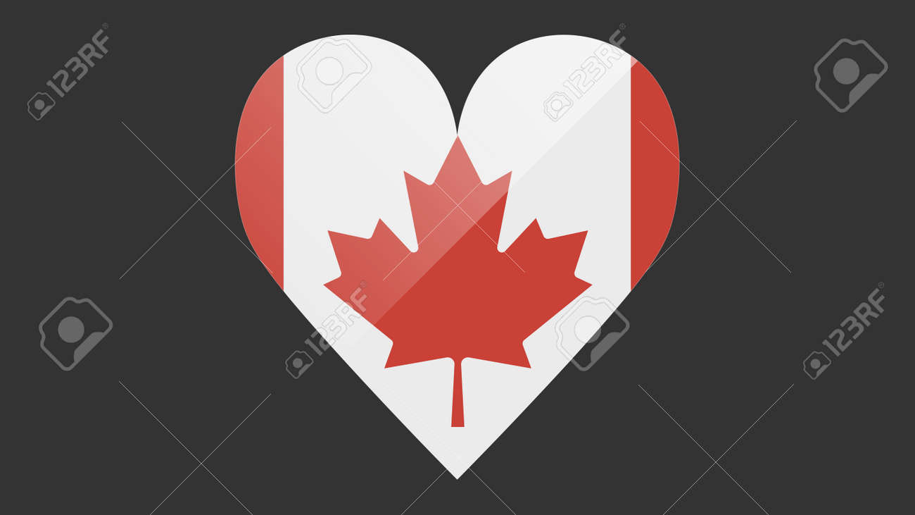 Heart shaped national flag of Canada icon design. Canadian flag heart vector - 171574577