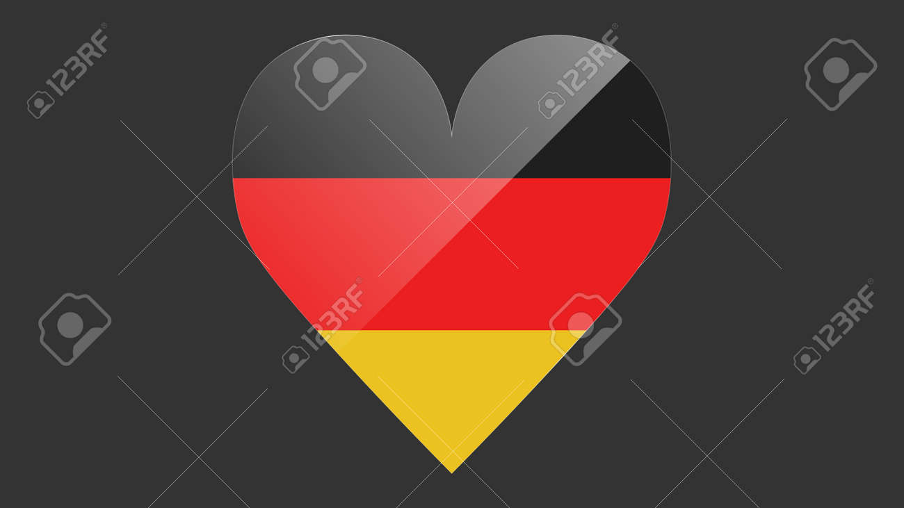 Heart shaped national flag of Germany icon design. German flag heart vector - 171574578