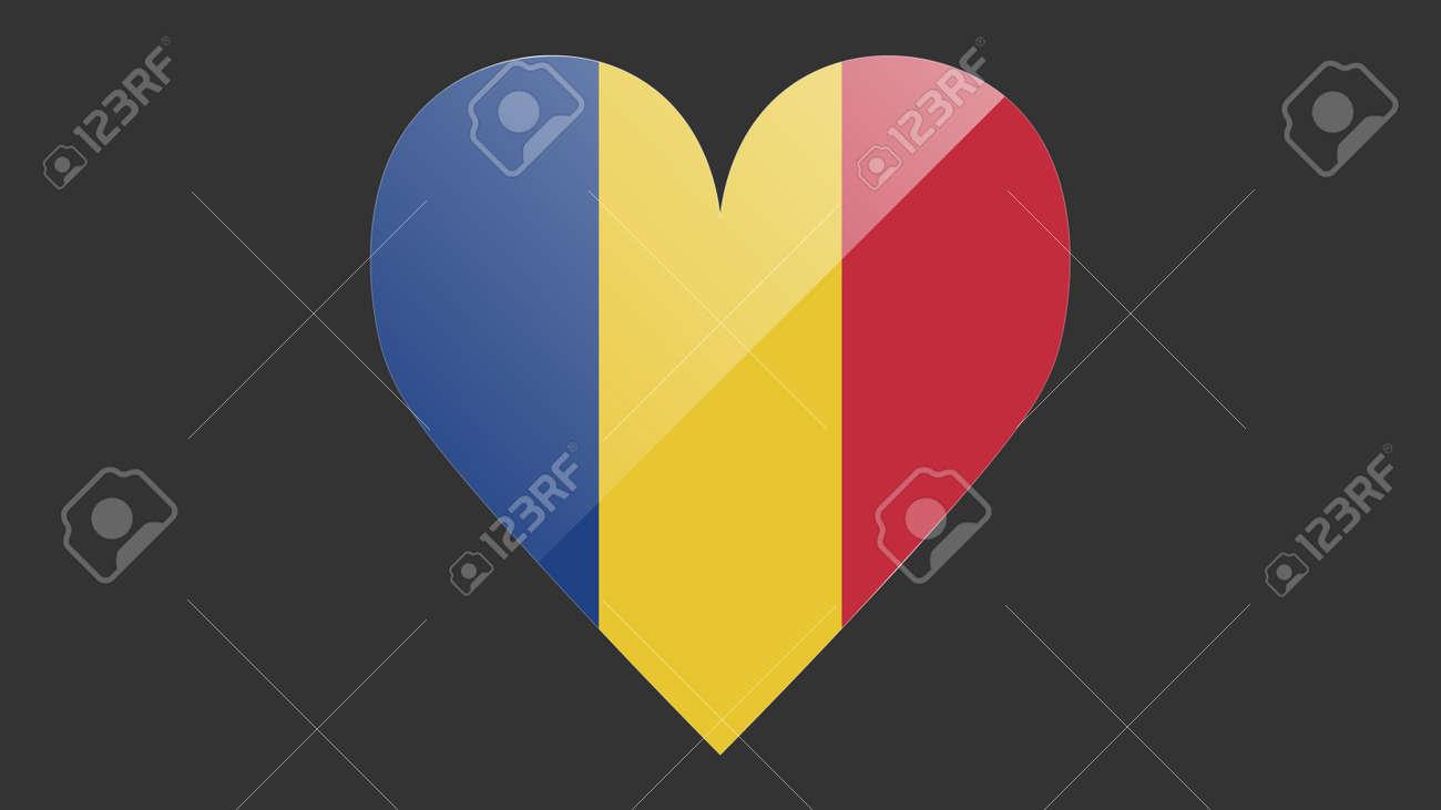 Heart shaped national flag of Romania icon design. Romanian flag heart vector - 170964495