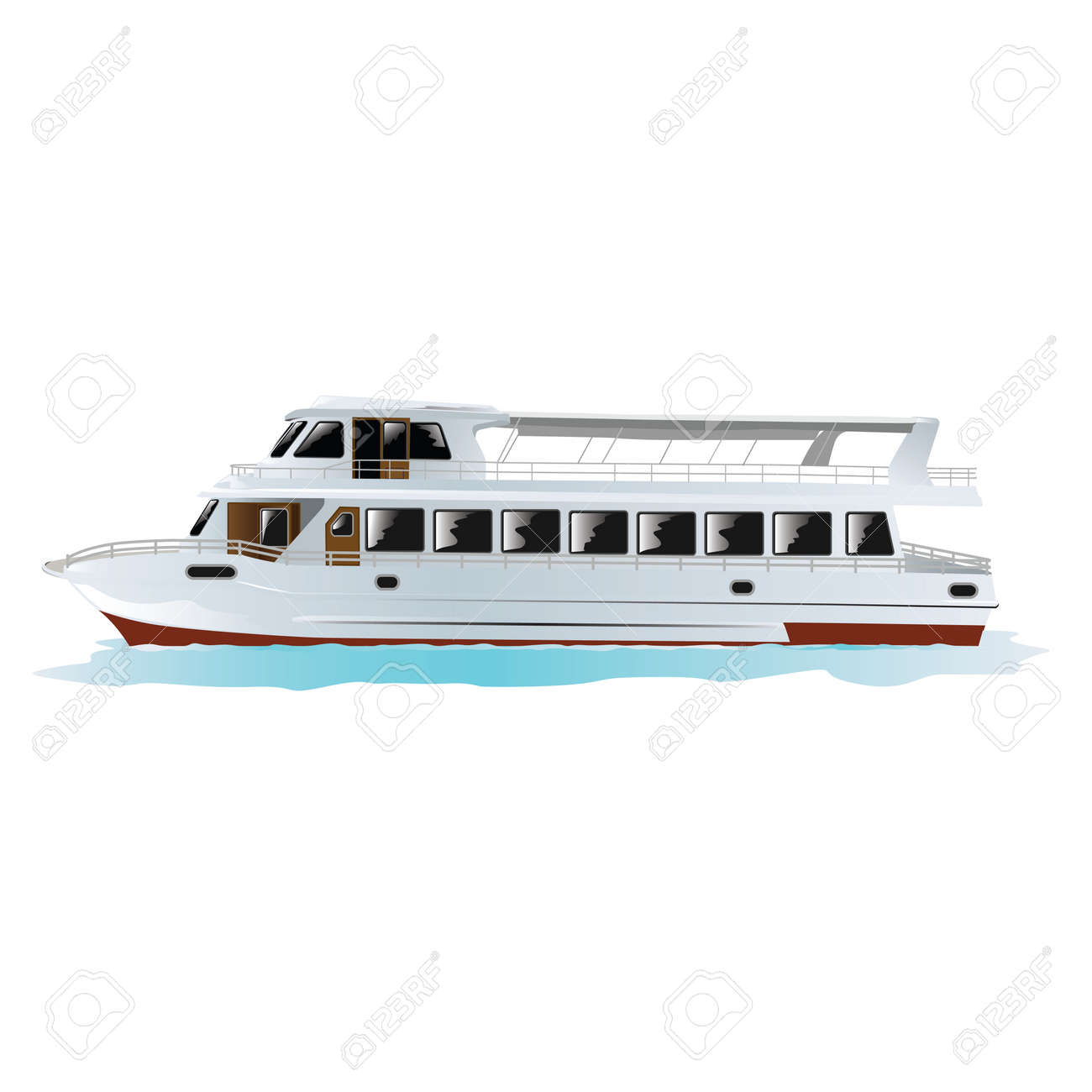 Traditional Turkish passenger boat in Istanbul, Turkey. Isolated on white. Vector, illustration. Stock Vector - 45222014