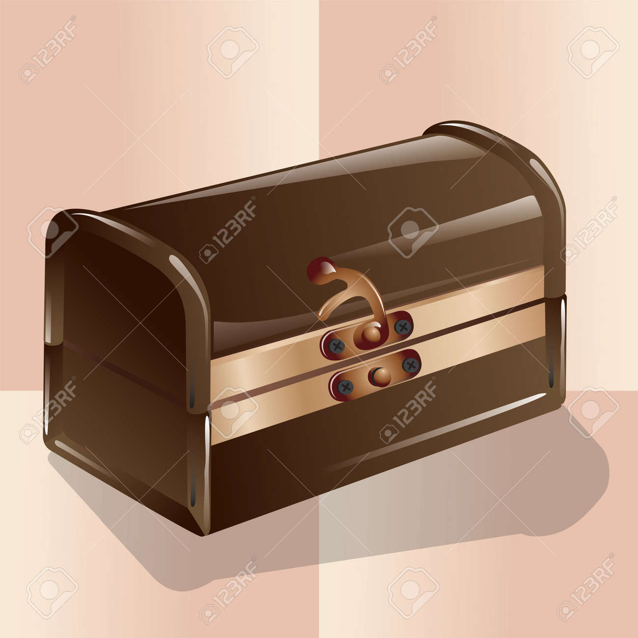 Old type closed chest isolated on pink background. Vector, illustration. Stock Vector - 45222022