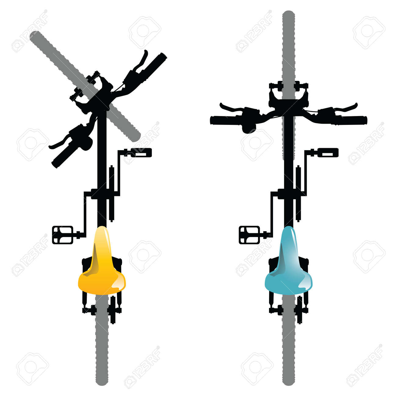 Bike. Illustration of a top view of generic bicycles isolated on a white background. Stock Vector - 45222030