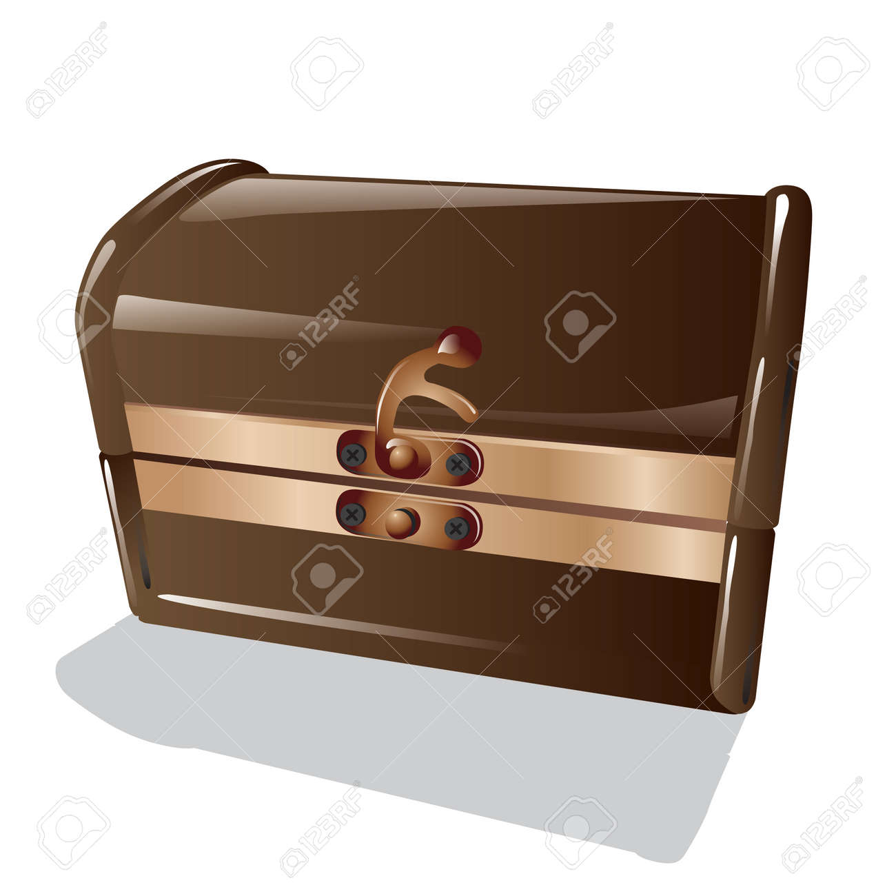 Closed old brown wooden chest isolated on white background. Vector, illustration. Stock Vector - 45222032