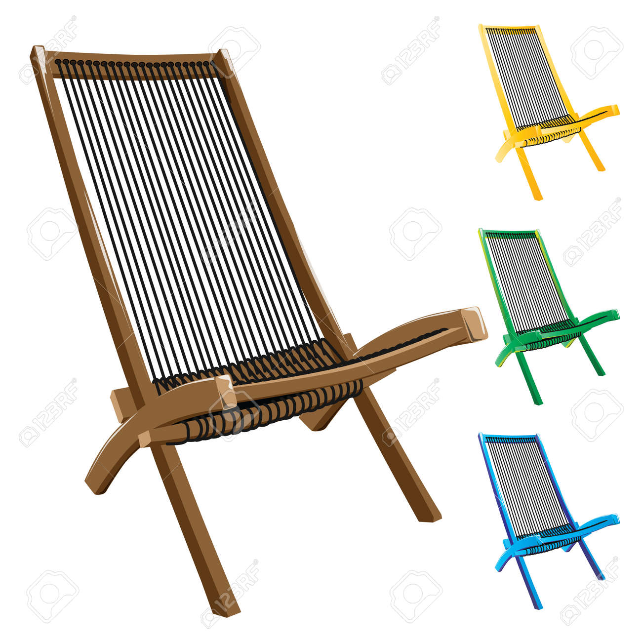 Deck chairs with rope seat isolated on white background. Vector, illustration. Stock Vector - 45222037