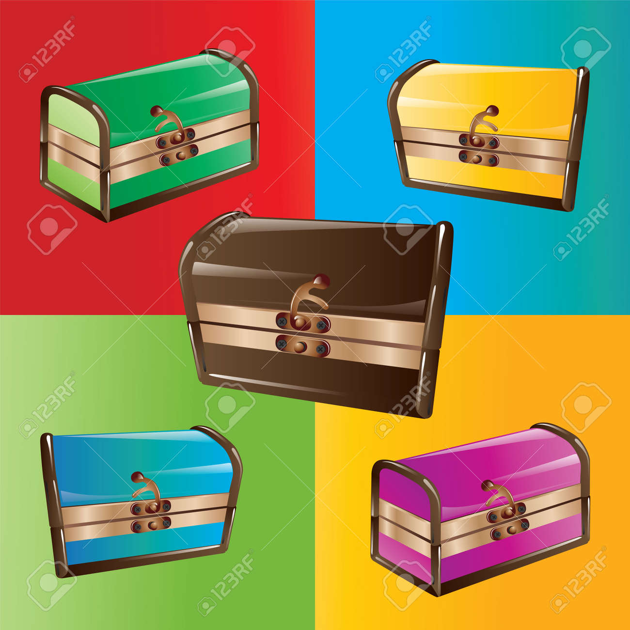 Closed colorful chests isolated. Vector, illustration. Stock Vector - 45222041