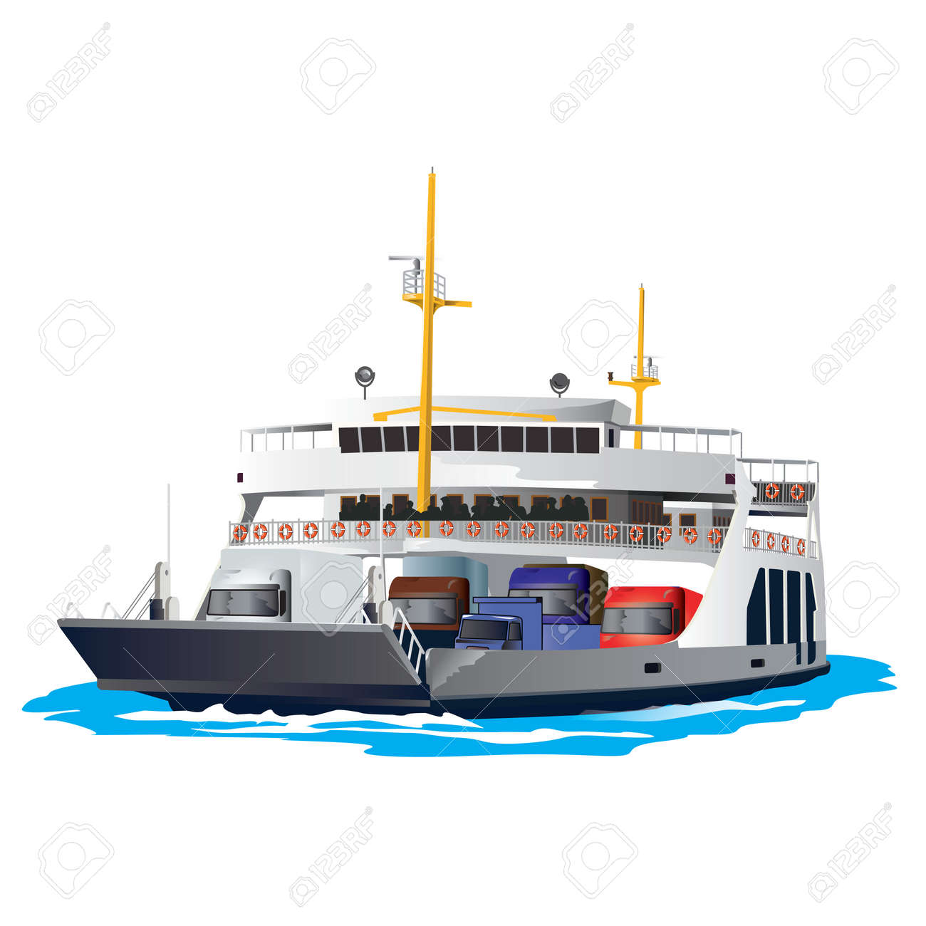 Ferry Boat isolated on white background. It is taking cars and trucks crossing the harbor. Vector, illustration. Stock Vector - 45222043