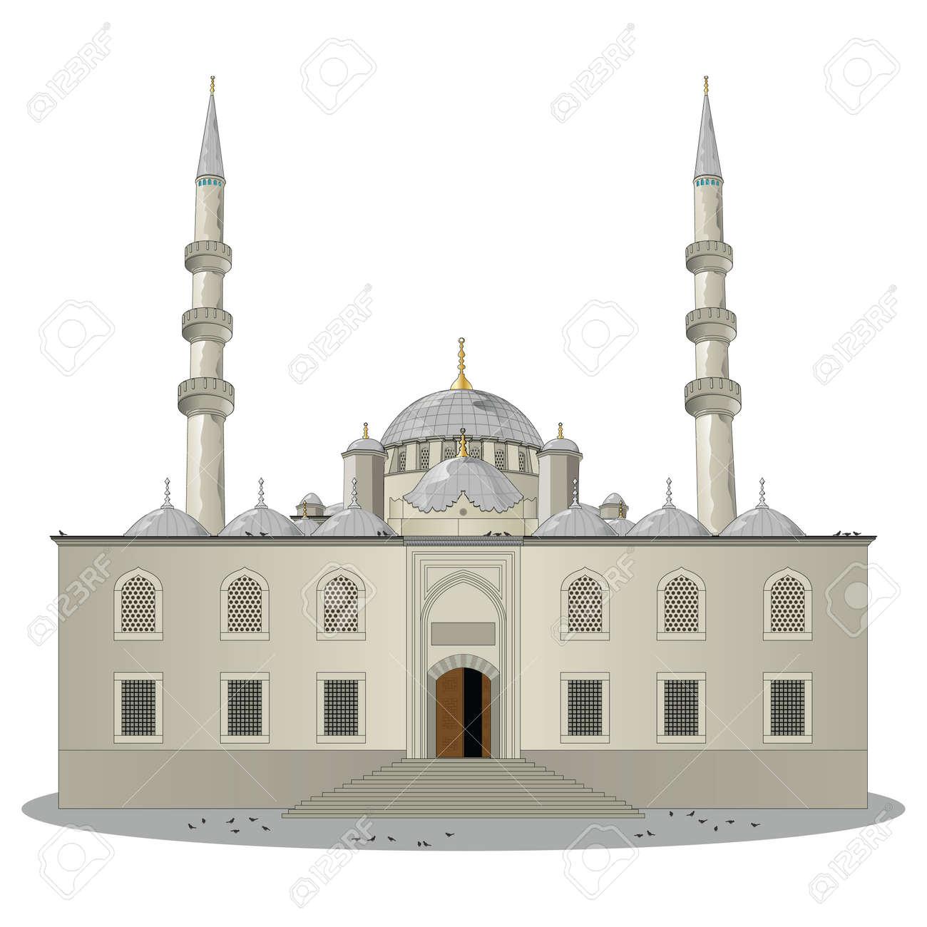 The New Mosque pronounced Yeni jami main entrance view in Eminonu, Istanbul, Turkey. Vector, illustration. Stock Vector - 45222045