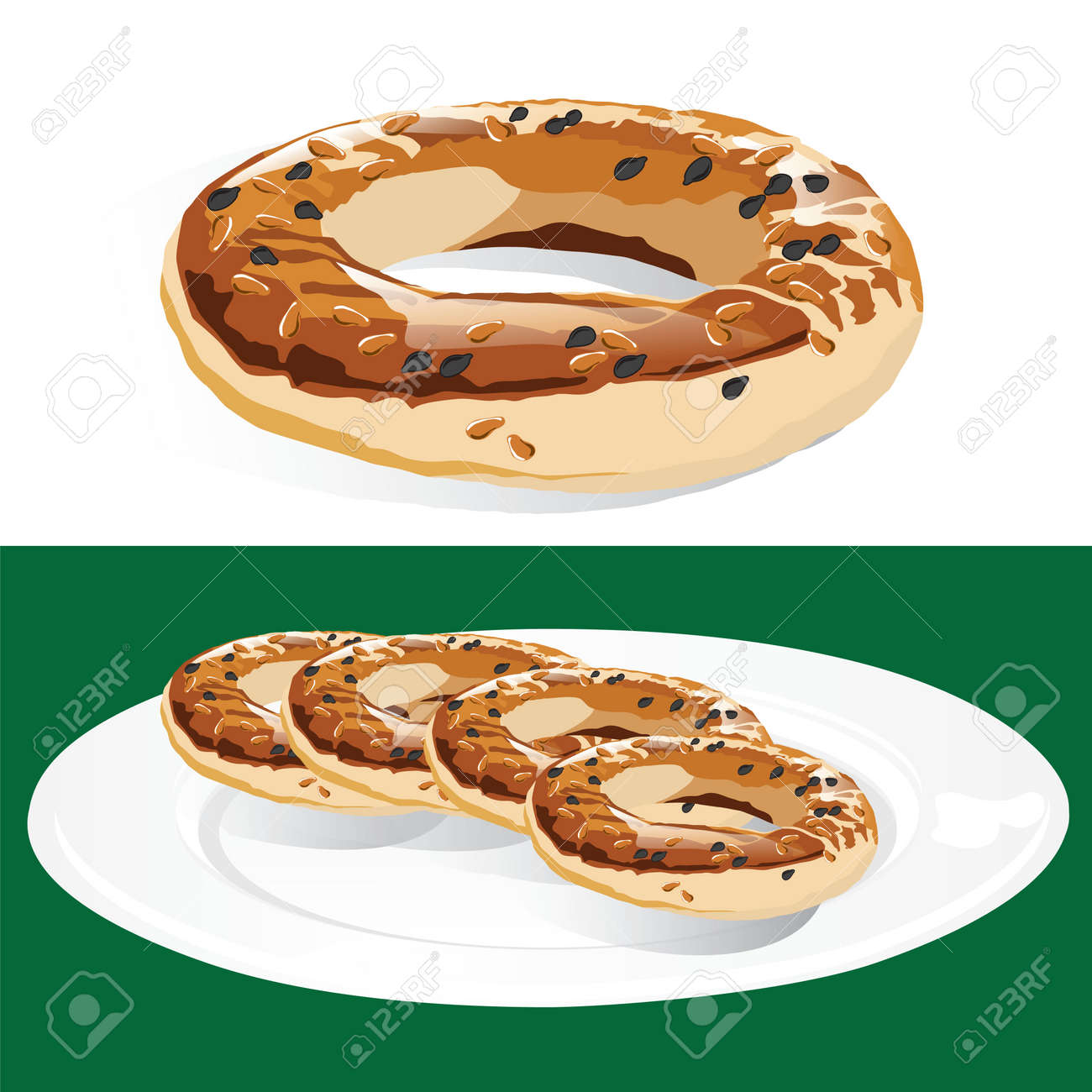 Traditional Turkish pastry rings called Kandil Simidi on a plate isolated, consumed during the Kandil religious holiday Stock Vector - 45514594