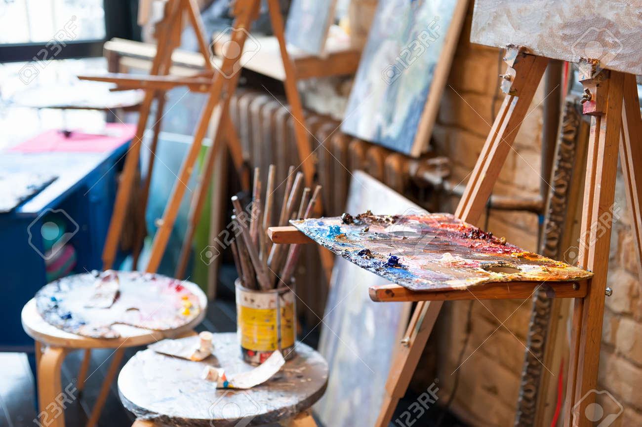 Row Of Easel With Palette In The Art Studio