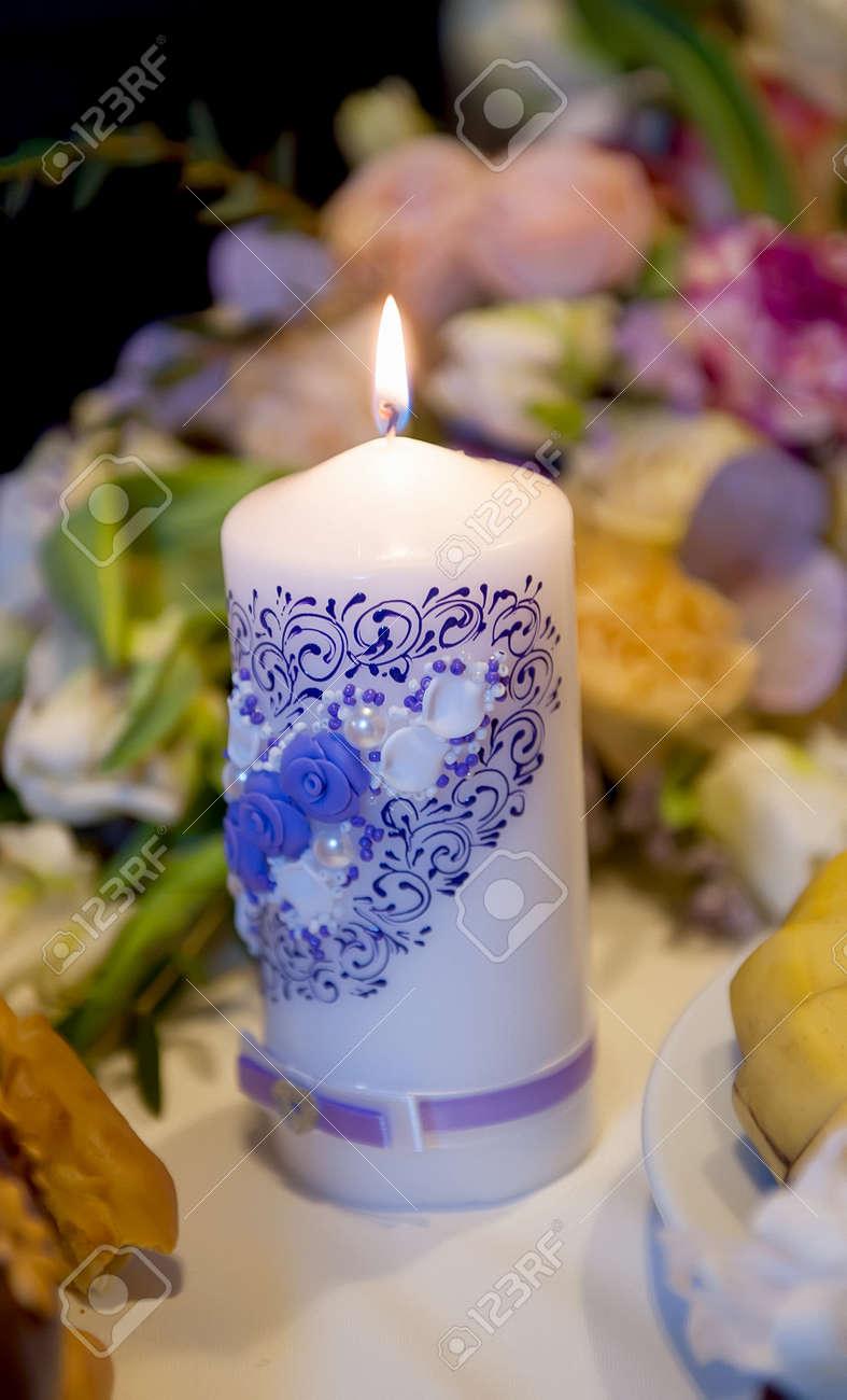 Brennende Kerzen Auf Einem Hochzeitstisch Von Jungvermahlten