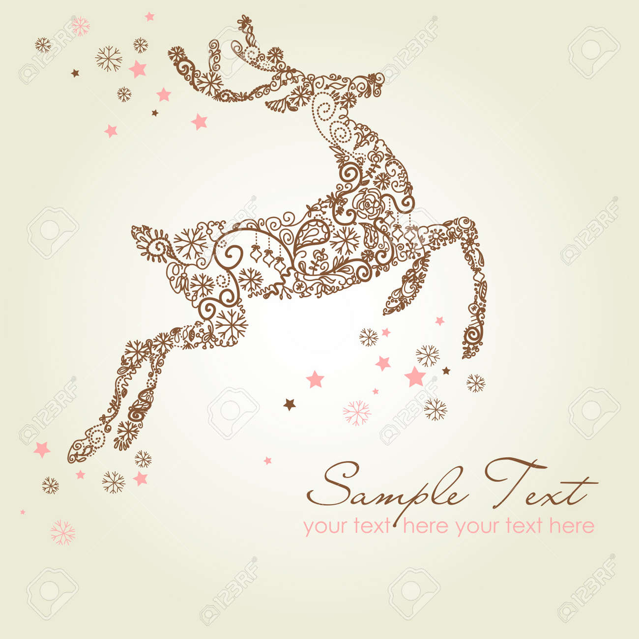 Christmas Deer, Vintage Vector Illustration Royalty Free Cliparts ...