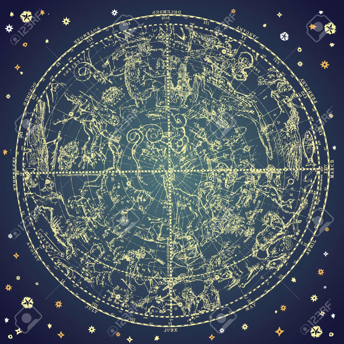 Vintage zodiac constellation of northen stars. - 10938056